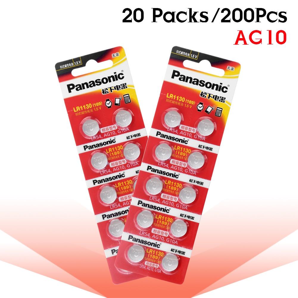 200 pcs/lot 100% D'origine Panasonic 1.5 V AG10 389 LR54 SR54 SR1130W 189 LR1130 AG10 LR1130 Alcaline Pile Bouton Bouton