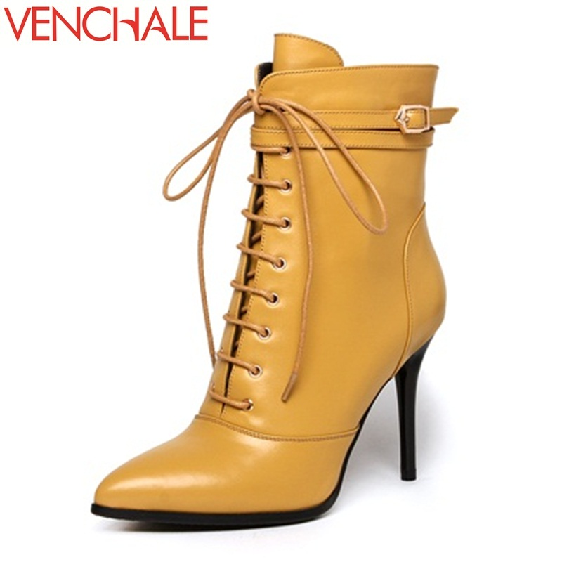 VENCHALE 2017 ankle boots frankness fashion trend individuality metal zipper lace-up buckle pointed toe women boots in winter fashion pointed toe lace up mens shoes western cowboy boots big yards 46 metal decoration