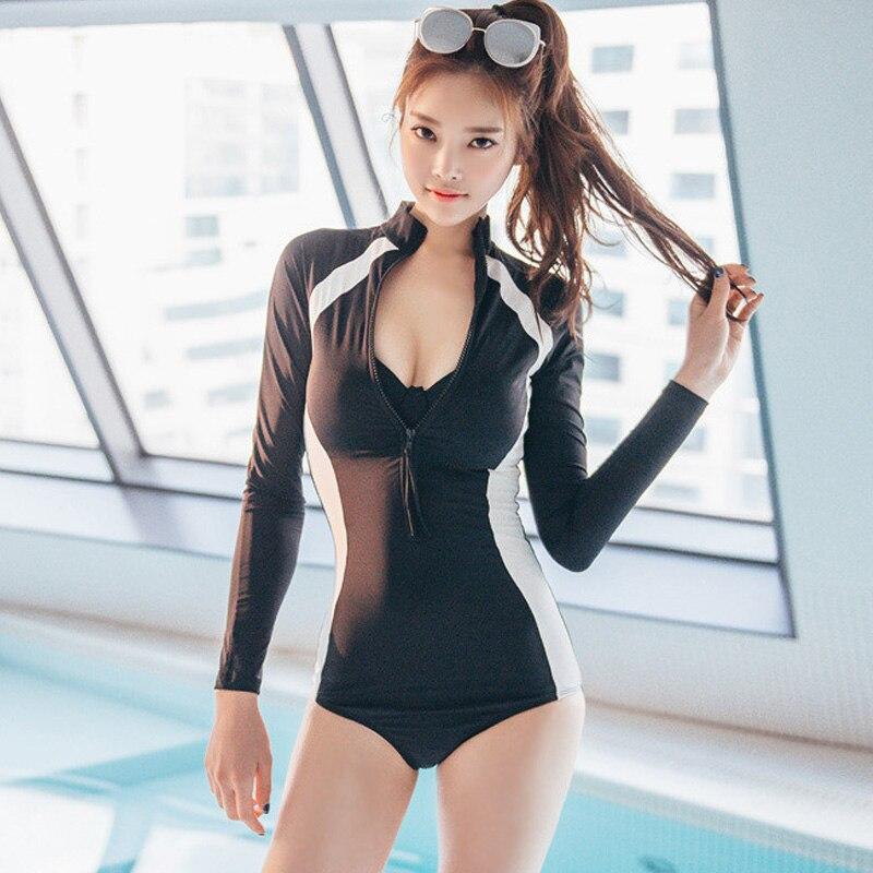 Zipper Full Black One Piece Swimsuit Long Sleeve Swimwear Women Bathing Suit Sport Swimsuit Newest One-piece Surfing Swim Suits
