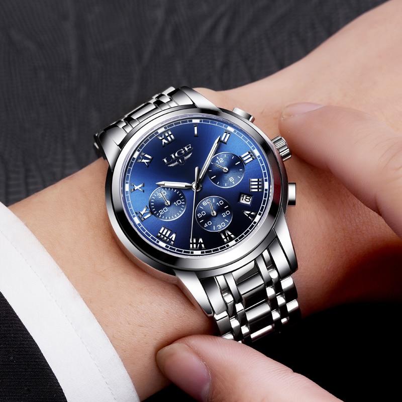 2020 nowe zegarki mężczyźni luksusowa marka LIGE Chronograph mężczyźni sport zegarki wodoodporny pełny stalowy zegarek kwarcowy męski Relogio Masculino 5
