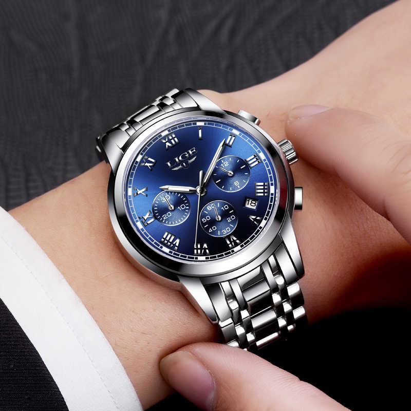 2018 nouvelles montres hommes de luxe marque LIGE chronographe hommes montres de sport étanche en acier complet Quartz montre pour hommes Relogio Masculino