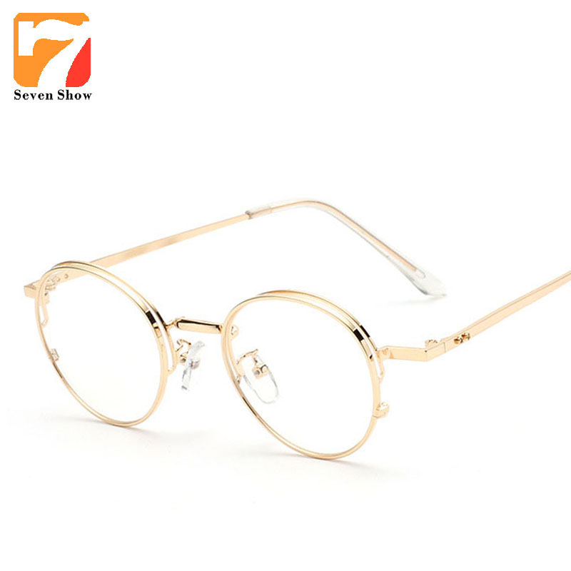 699f3e97bb1 Metal Round Frame Eyeglasses Clear Lens Optical Computer Glasses Frames Men  Women Retro Vintage Eyewear Prescription