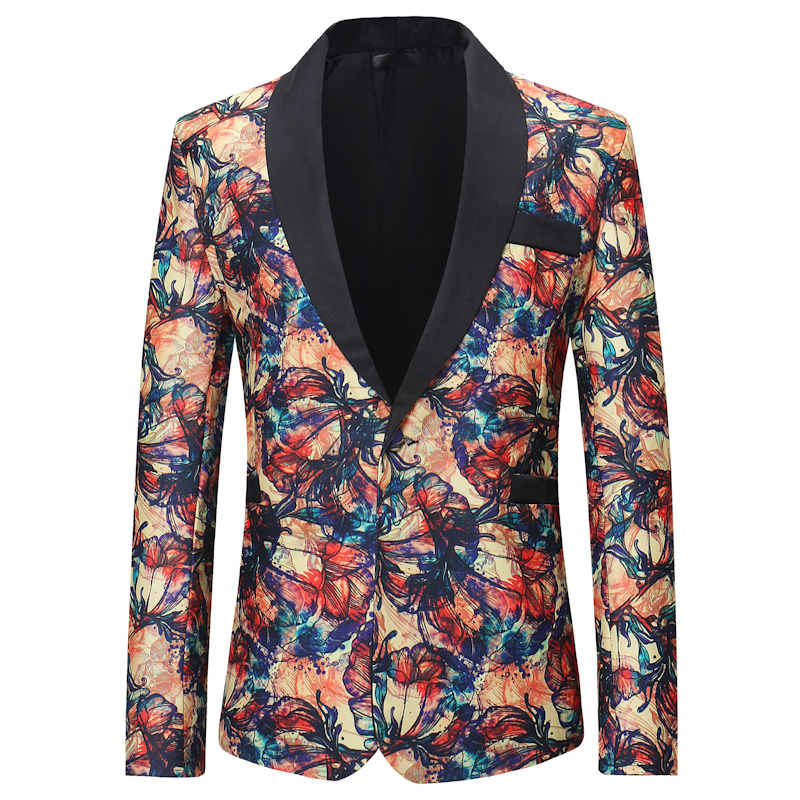 Mens Vintage Printed Suit Blazer Casual Slim Fit Prom Dress Blazers Men Floral Wedding Stage Wear Costume Blazer Jacket for Men