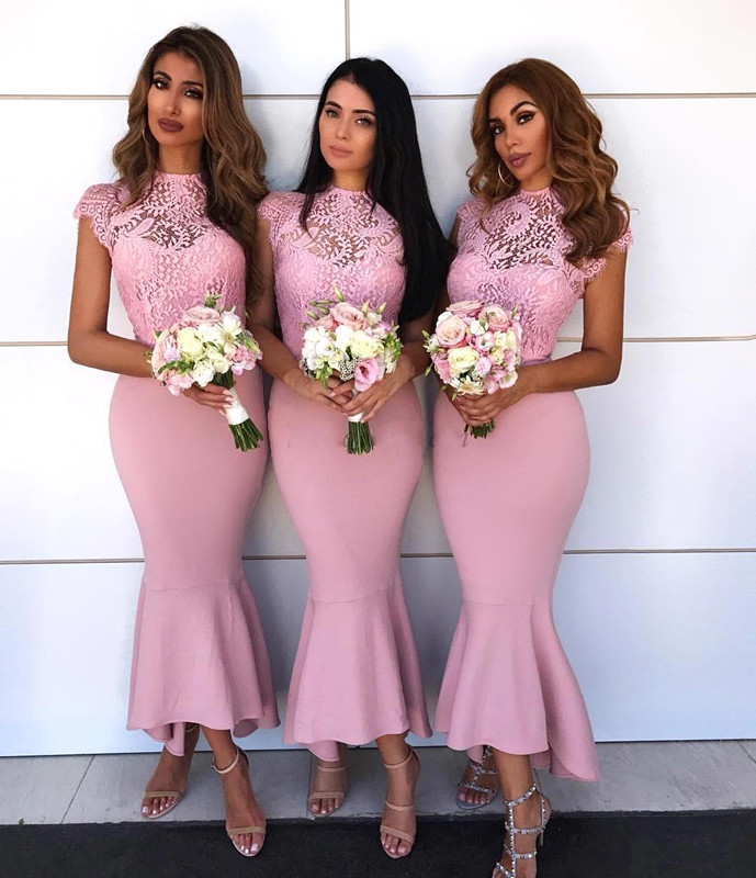 Pink 2019 Bridesmaid Dresses For Women Mermaid Cap Sleeves Satin Lace Hi Low Long Cheap Under 50 Wedding Party Dresses