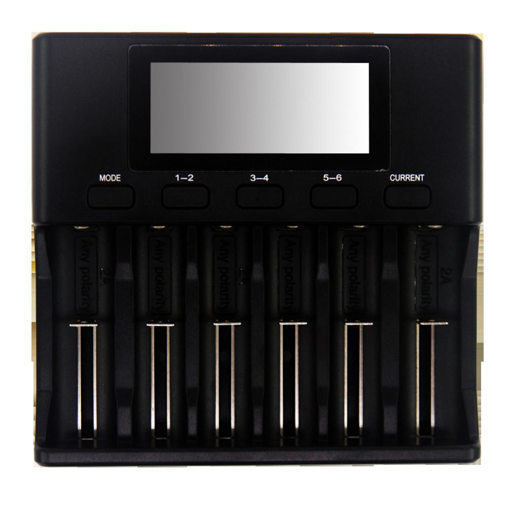 2019  Newest 3.7V Lithium Battery Charger 1.2V Nickel Hydrogen 3.2V Iron Phosphate 6 Slots 500mA / 700mA 1000m