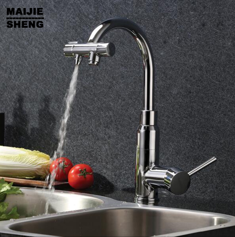 2017 Double fuinction kitchen faucet 3 way filler Kitchen Faucet Three Way Tap for Water Filter+2 pcs filter kitchen as resin faucet filter transparent blue