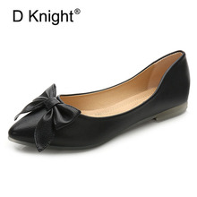 цены New Women Casual Pointed Toe Bow Flats Big Size 36-42 Ladies Slip-on PU Ballerinas Flats Female Comfortable Leisure Flat Shoes