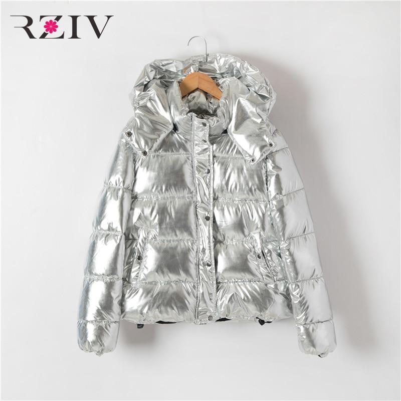 RZIV 2018 automne et d'hiver manteau femmes veste casual coton manteau à capuchon métallique couleurs