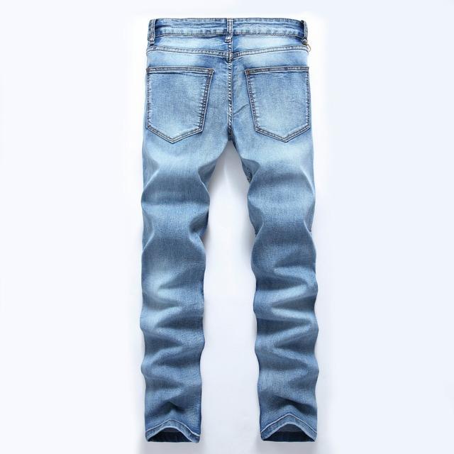 Fashionable Blue Cotton Men's Jeans Stone Wash