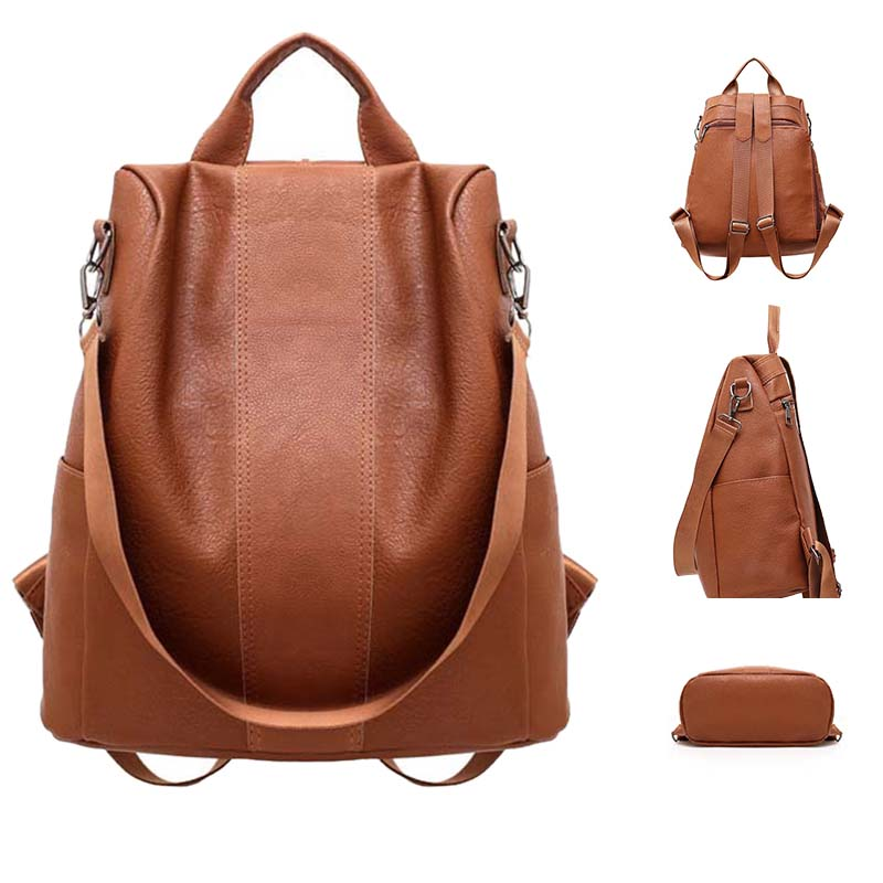 2019 New Female Anti-theft Backpack Classic PU Leather Solid Color Large Capacity Backpacks Totes School Bag For Teenager Girl