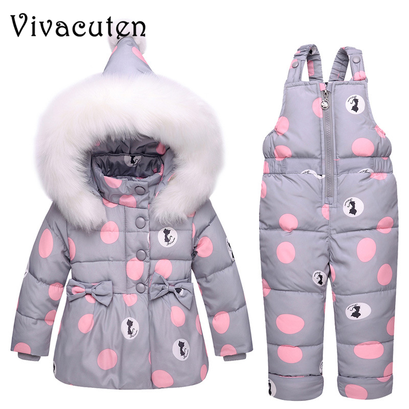 New Winter Girls Warm Clothing Sets Fur Hooded Jacket Toddler Dot White Dark Down Coat Trousers Waterproof Warm Snowsuit Clothes new winter girls warm clothing sets fur hooded jacket toddler dot white dark down coat trousers waterproof warm snowsuit clothes
