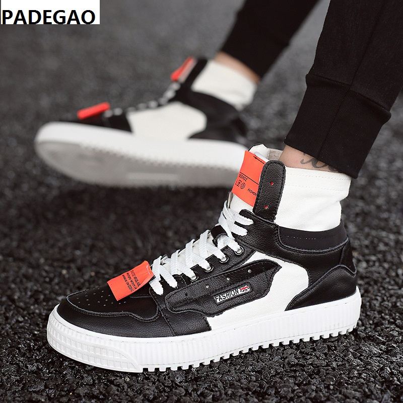 Spring and autumn high top shoes breathable men's casual canvas hip hop board shoes matching color lace up comfortable men shoes