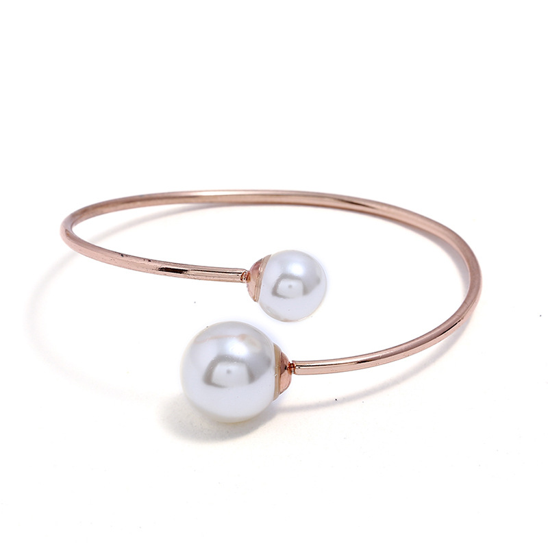 New Gold Color Open Cuff Bangle Simple Double Simulated Pearl Beads Adjustable Bangles for Women Girls Fashion Wedding Jewelry