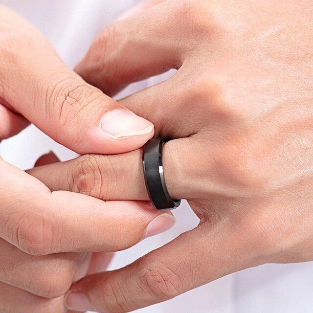 Модные кольца на палец из вольфрамовой стали черного золотого