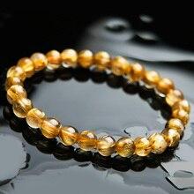 100% Natural Gold Rutilated Quartz Crystal Woman Man Titanium Gemstone Brazil 7mm Round Beads Bracelet Jewelry Bangle AAAA