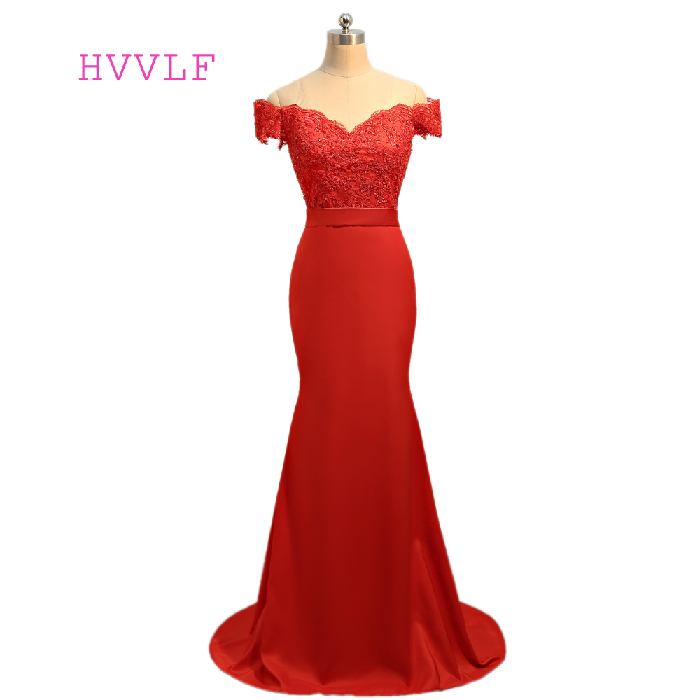 Red Evening Dresses 2018 Mermaid V Neck Cap Sleeves Appliques Lace Backless Robe De Soiree Women