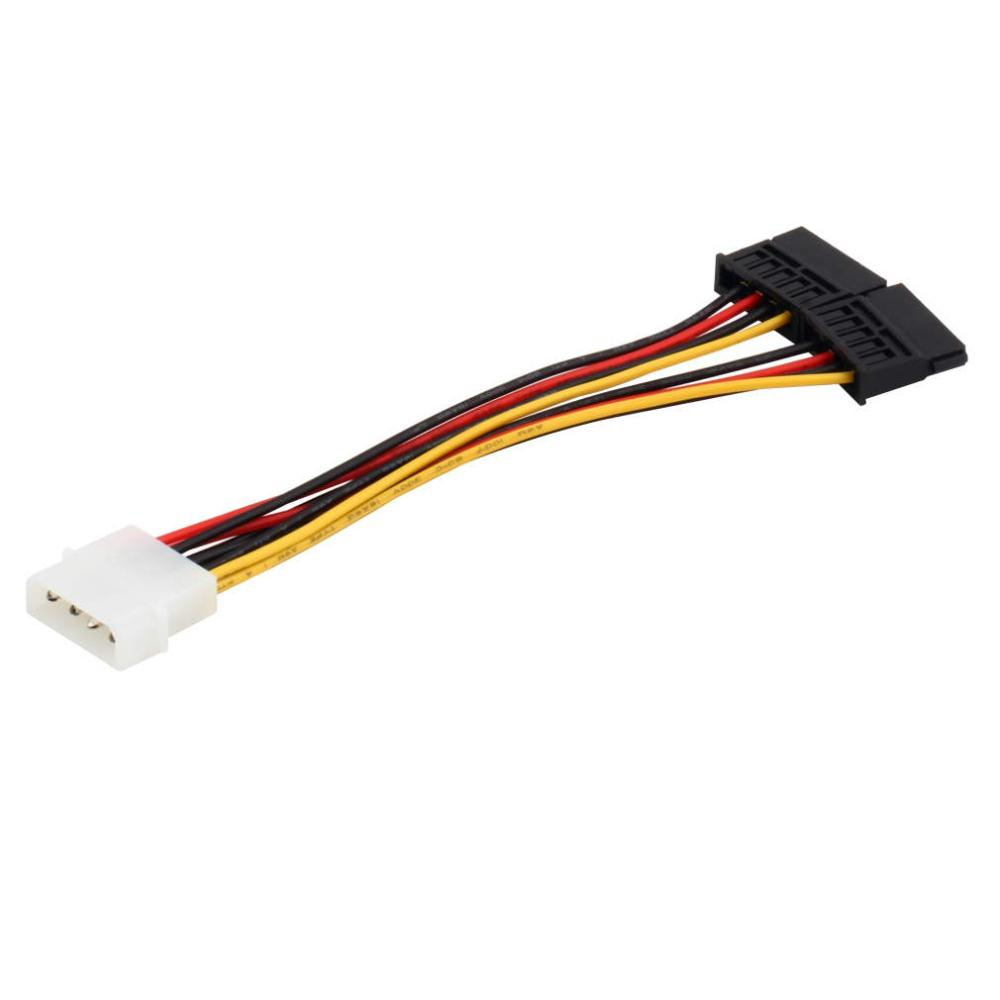 1pcs Serial ATA SATA 4 Pin IDE Molex To 2 Of 15 Pin HDD Power Adapter Cable Hot Worldwide