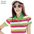 LIKEPINK Summer Brand Polo Shirts Femme Stripes Bottoming Large Size Short Sleeve Women Slim Lapel Camisetas Clothes