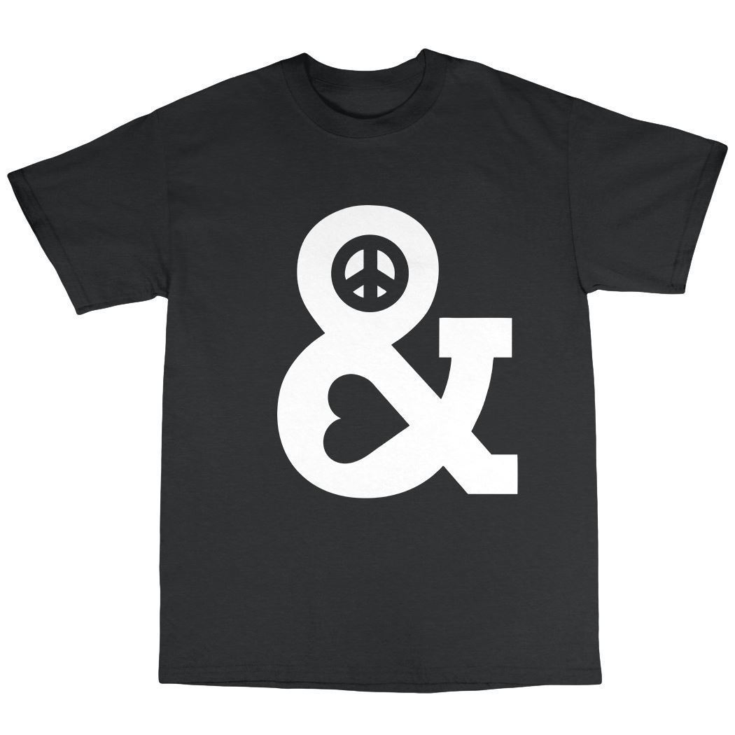 Peace & Love T-Shirt 100% Cotton Pacifist Hippie Harmony Buddhist Happiness Classic Quality High t-shirt Round Style tshirt Tee