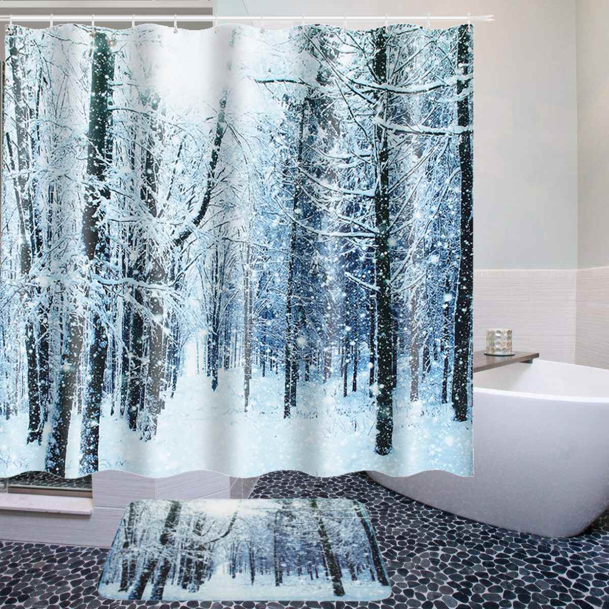 Us 5 38 26 Off Christmas Snowman Shower Curtain Anti Slip Waterproof Polyester Fabric Bath Curtain Bath Mat With 12 Hooks For Bathroom Curtains In