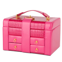 Leather Jewelry Box Large Capacity Storage Box Retro Handmade Jewelry Sorting Box With Mirror