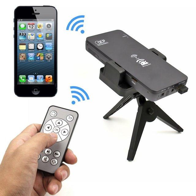 6 en 1 Mini Bolsillo HD DLP LED WiFi Inteligente Proyector DLP Cine En Casa de Mini SD USB HDMI Para Android IOS Teléfono Móvil pc portátil