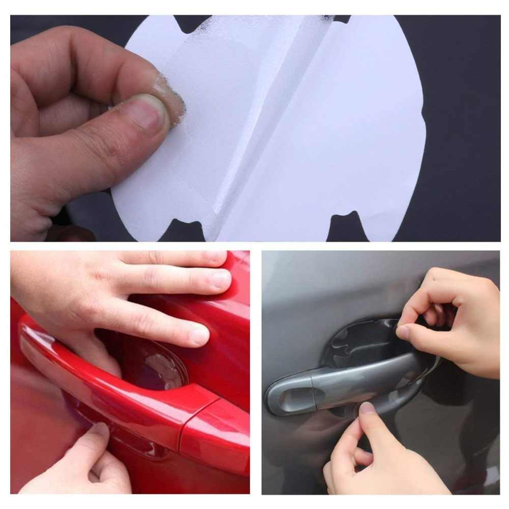 4 قطعة العالمي غير مرئية مقبض باب السيارة طبقة رقيقة واقية الخدوش واقية غطاء ملصق سيارة الخارجي لاصق شفاف