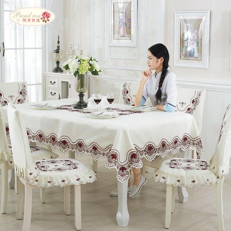 Stolze Rose Bestickte Tischdecke Stuhl Kissen Tischdecke Home Tee Tischdecke TV Ark Abdeckung Tischläufer Hochzeit Dekoration