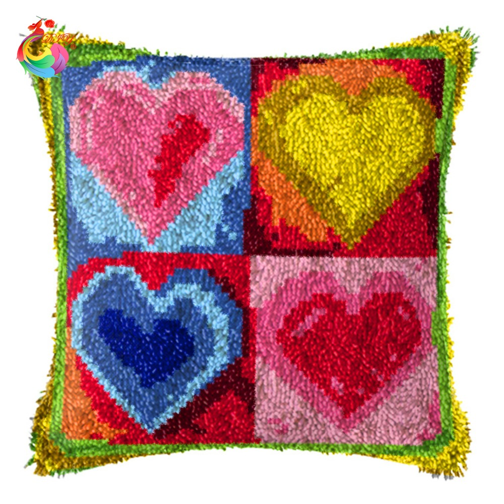 Diy Needlework Crocheting Throw Pillow Heart Unfinished Yarn Cross Stitch Embroidery Pillowcase Latch Hook Cushion Kit Gift