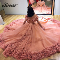 Off Shoulder Long Puffy Formal Evening Gowns Arabic Women Ball Gown Prom Dress Couture 2017 Blush Pink Lush Flower Evening Dress