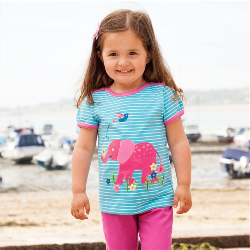 Baby girls new style short sleeve summer t shirts girls cute striped cartoon t shirt with applique a cartoon elephant top tees contrast lace applique t shirt