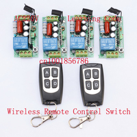 220V Wireless Remote Controller Wireless Power Switch System 4 Receiver 2 Transmitter 1CH 10A Light Lamp