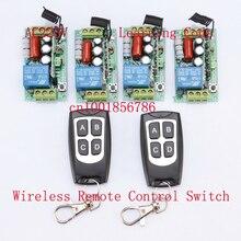 220 V Controle Remoto Sem Fio Wireless Power Sistema de Comutação 4 Receptor & 2 Transmissor 1CH 10A Luz Da Lâmpada LED SMD EM OFF