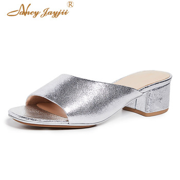 Silver Women Summer Slippers Patent Leather  Solid Outside Sewing Square Hell Slides shoes  Party Fashion Leisure Big Size 45