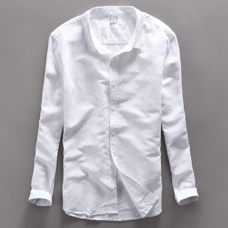 Original Cotton Linen Shirts Men Spring Summer White Social men linen shirts Thin Casual-shirt British Fashion Clothes S-XXL