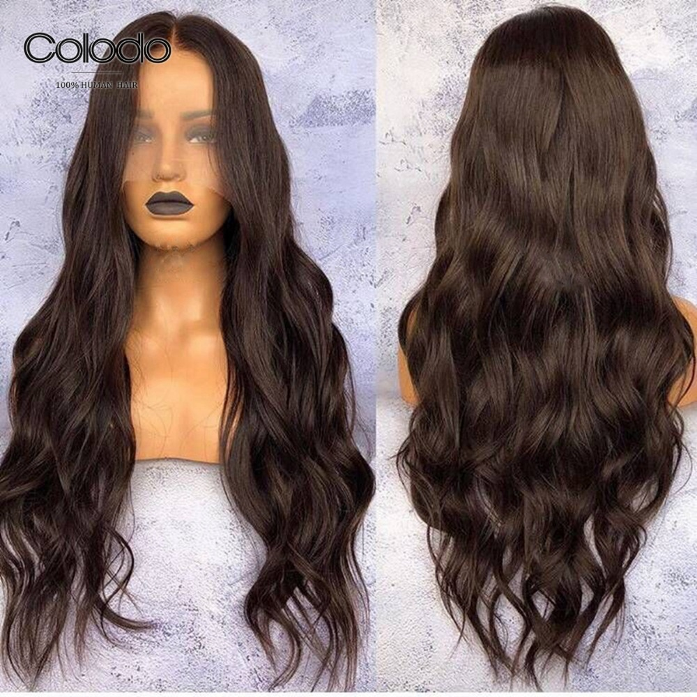 COLODO 150 Density Lace Front Human Hair Wigs Glueless 2 Dark Brown Brazilian Remy Wigs For