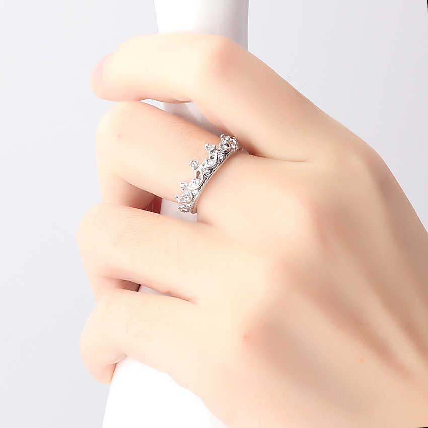 1PC 女王王冠リングクリスタルジュエリー愛好家リングファムビジュー結婚式の婚約指輪女性のパーティーファッションジュエリー