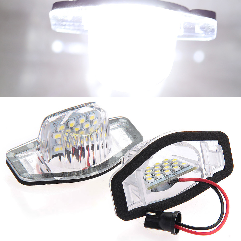 Qook 2piece Error Free 18 1210 SMD LED License Plate Light Lamp for Honda CR-V Fit Jazz Crosstour Odyssey  Number Plate Lamp 1pcs t10 w5w 6smd 5050 error free led canbus clearance light for honda civic fit accord crv hrv cr v city odyssey spirior city