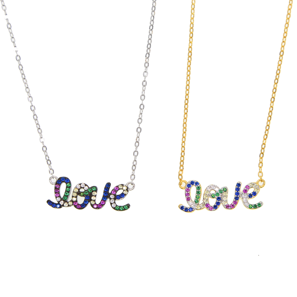 Necklace Love Imitation silver Chain Letter Personality Clavicle 925 sterling silver paved rainbow cubic zirconia love necklaces necklace love imitation silver chain letter personality clavicle 925 sterling silver paved rainbow cubic zirconia love necklaces
