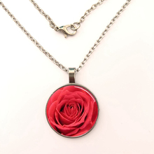 YSDLJG Red Rose Flower Handcrafted Glass Dome Pendant Necklaces For Christian Faith Jewelry accessories Gifts