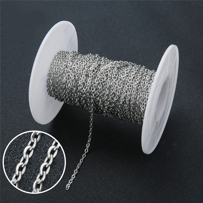 5m/lot 2mm 3mm Stainless Steel Necklace Link Chain Bulk Craft Metal Bracelet Necklace Chains For Jewelry Accessories Making