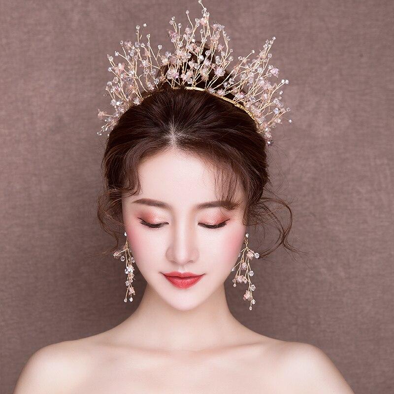 Fashion Handmade Beaded Headband Hair Jewelry Gold Color Queen Tiara Crown Wedding Bridal Headdress Accessories Gifts
