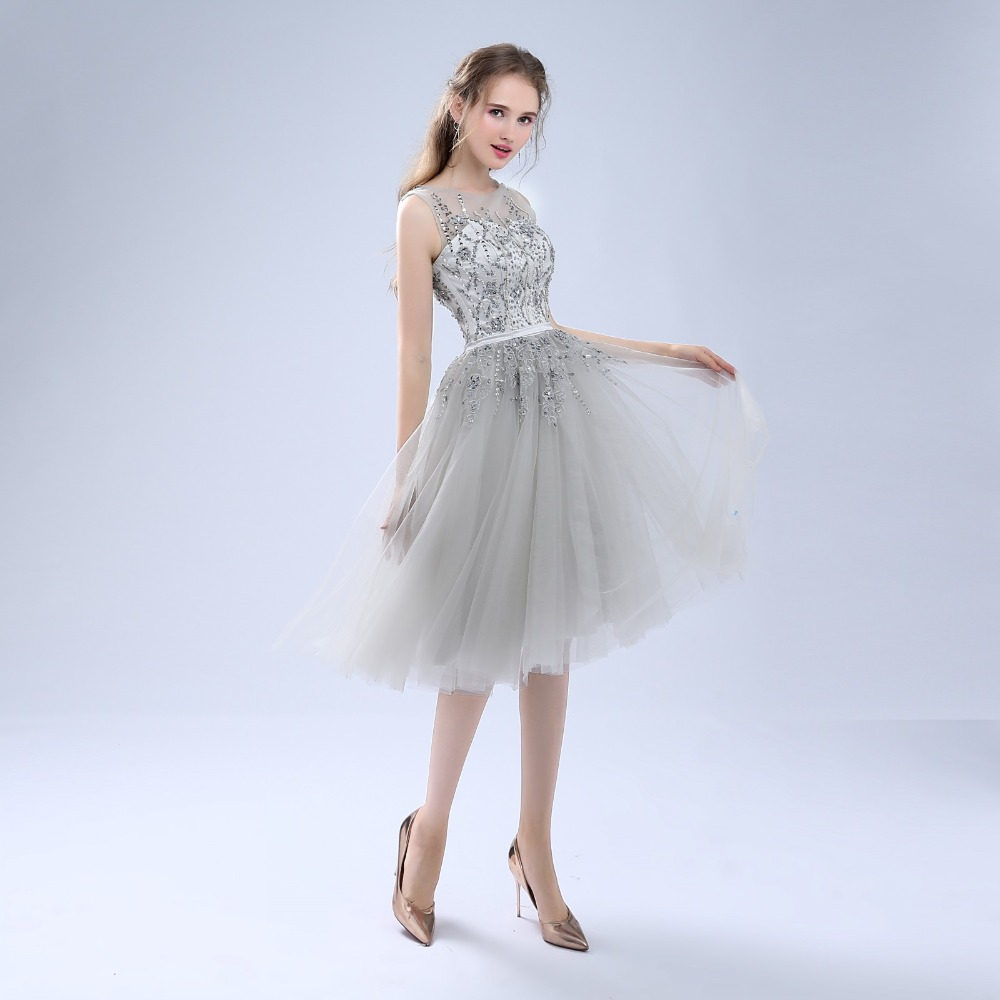 ANTI Luxury 2018 Robe De   Cocktail     Dresses   Sleeveless Tulle For Wedding Party Crystal Short Vestidos De Coctel Party Bride Gowns