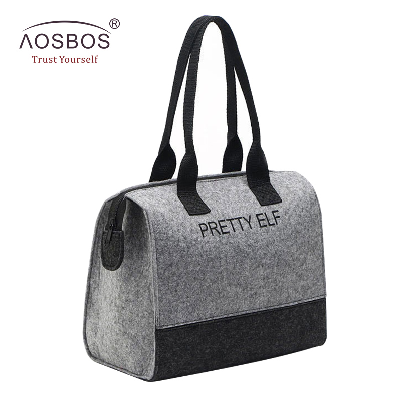 Aosbos Waterproof Picnic Lunch Bag Portable Felt Tote Lunch Box Food Storage Bags For Women Solid Insulated Lunch Bag