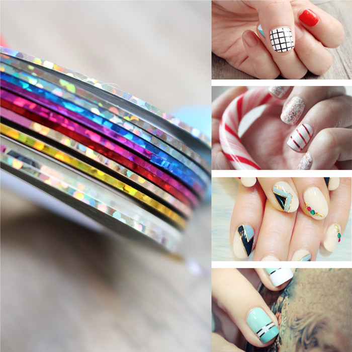 10pcs Mix Different Color Nail Rolls Striping Tape Line Diy Nail