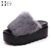HEE GRAND Platform Slippers Women Shoes Fur Creepers Wedges Sandals Beach Flip Flops Soft Slip On Flats Shoes Woman  XWM130