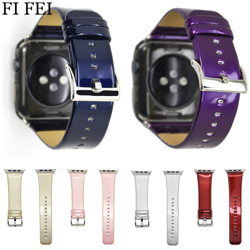 FI FEI Bright Leather Watch Band Straps For Apple Watch 38mm 42mm Series 1 2 3 Watch Accessories Watchbands Wrist Bracelet genuine leather classic buckle watch straps wrist band for apple watch 42mm red