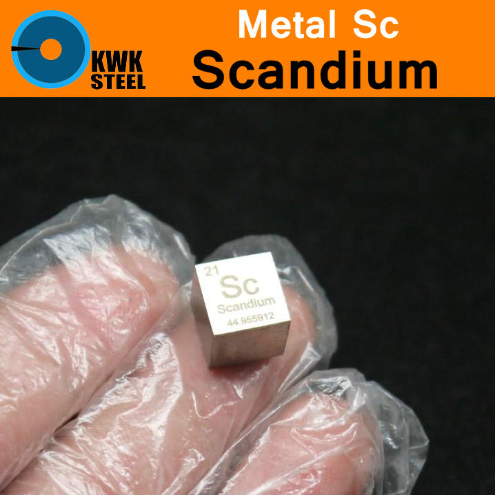 Sc Scandium Cube Bulk Glass Seal Pure 99.9% Periodic Table of Rare-earth Metal Elements for DIY Research Study School Education