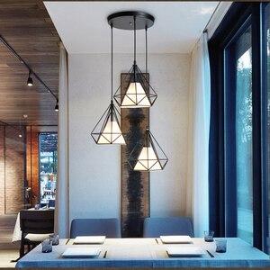 Image 3 - Creative יהלומי סגנון אמנות תליון אור מינימליסטי רטרו תעשייתי רוח ברזל כלוב ציפורים תליון מנורת הבר מסעדת משרד