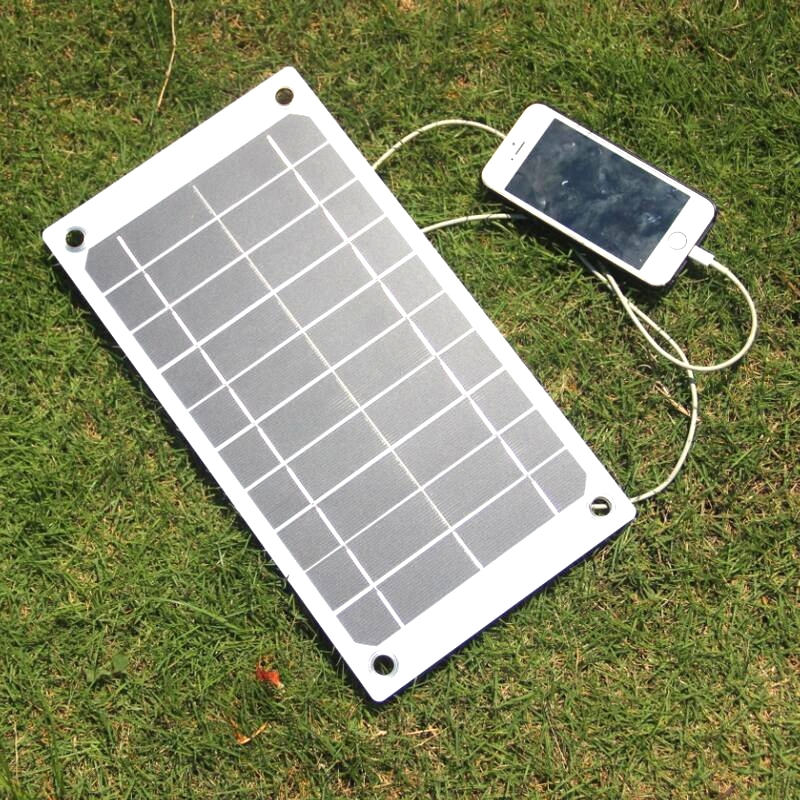 BUHESHUI 7.5w 5V Solar Panel Charger Green Portable Waterproof Design USB Port Outdoor Camping High efficiency Monocrystalline